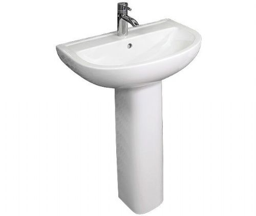 RAK Compact 1 Tap Hole Basin With Full Pedestal 550mm COM55BAS1